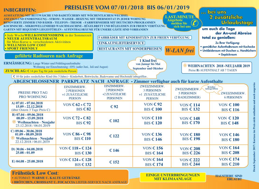 Liste preise residenz italien